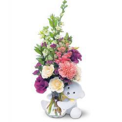 Teleflora's Bear Hug Bear with White Roses